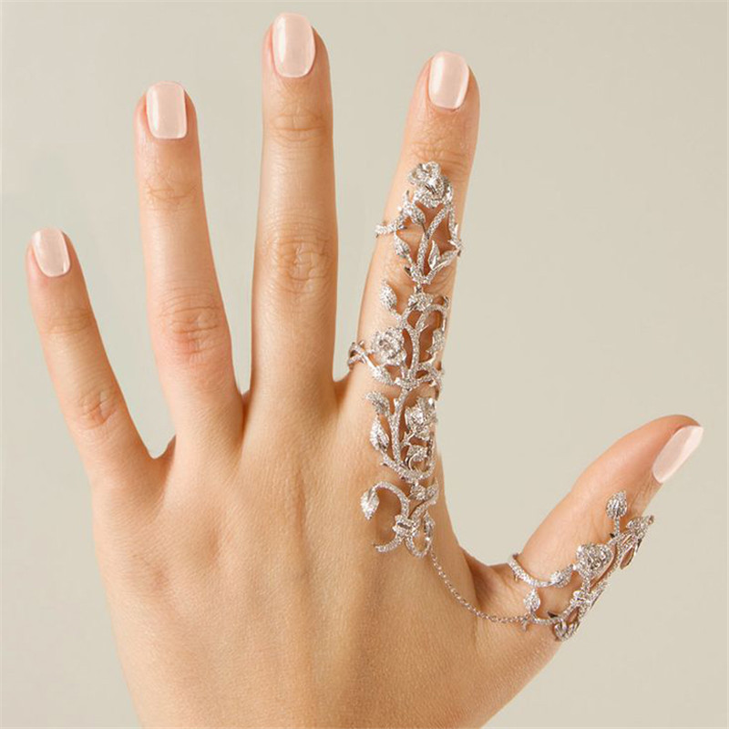 Hot-Selling European American Women Chic Alloy+Rhinestone Shiny Crystal Floral Ring Celebrity Party Connect Full 2 Finger Rings(China (Mainland))