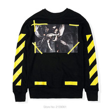 S-XL autumn winter VIRGIL ABLOH off white hoodie men hiphop casual religion painting CARAVAGGIO yellow Twill crewneck sweatshirt(China (Mainland))
