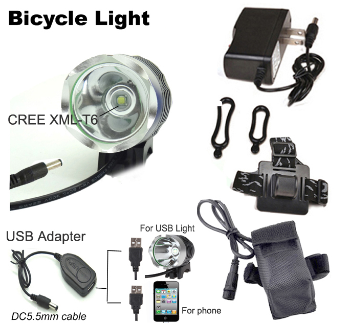 Bike Light T6 Bicycle Light 12W 2000 Lumens Front Light LED HeadLamp + Battery Pack + Charger+ usb cable(China (Mainland))