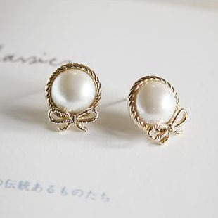 2200 accessories pearl bow stud earring female 10g - low profit store