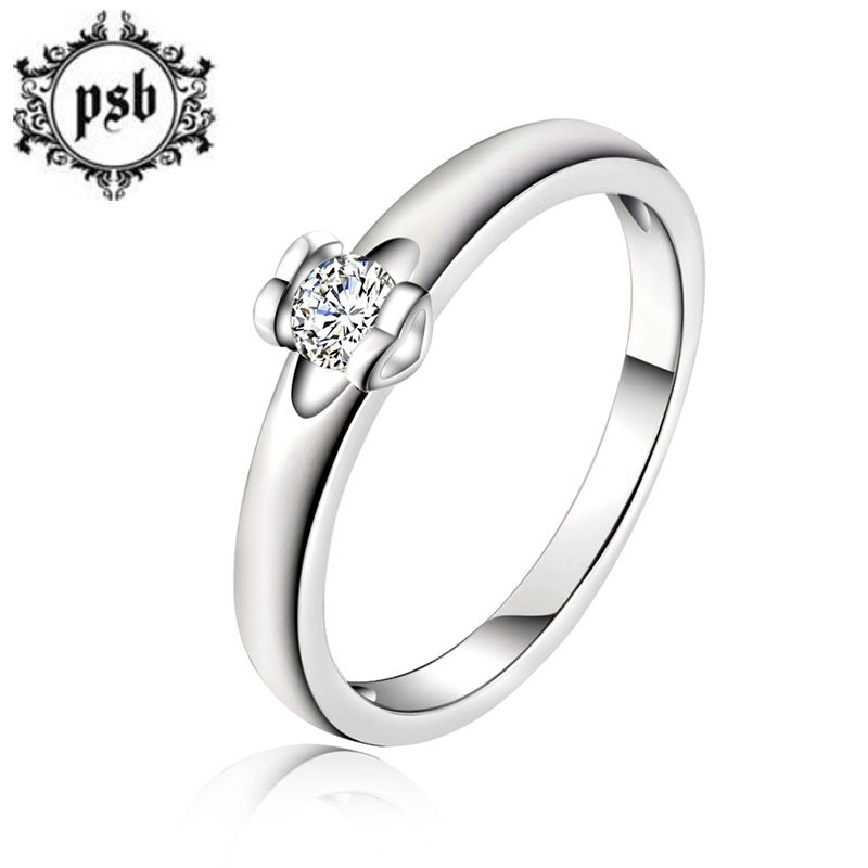 PSB Platinum Plated Classic Simple Design Heart Prong Sparkling Solitaire 1ct Zirconia Diamond forever Wedding Ring Bijoux(China (Mainland))
