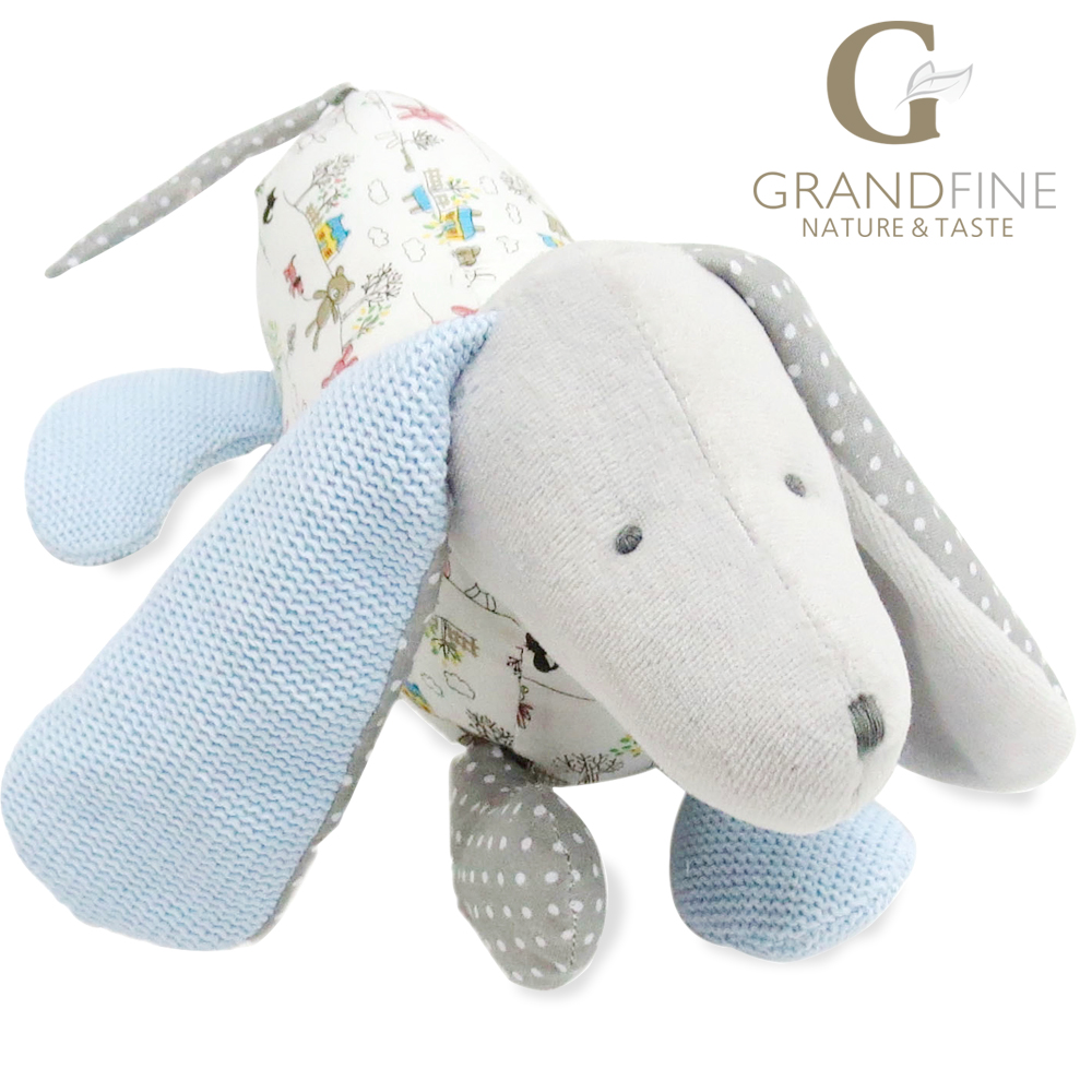 27cm cute grey stuffed dog doll,100% cotton knit Eco material, plush toys for gift,birthday(China (Mainland))