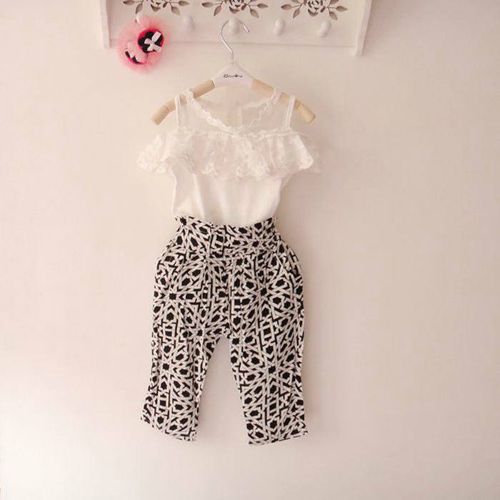 2014 Hot selling fashion baby girls clothes set children and kids clothes suit shirt pants sets