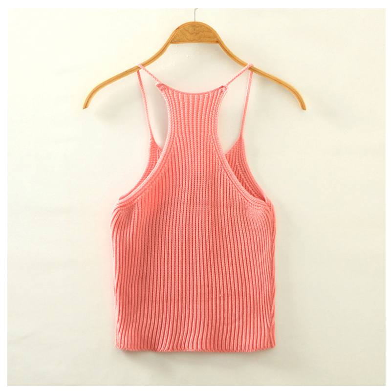 New 2016 Summer Women Short Cropped Knitted Camis Tank Tops Lady Casual Sexy Knit Crop Tanks One Size Korean Style RD866014(China (Mainland))