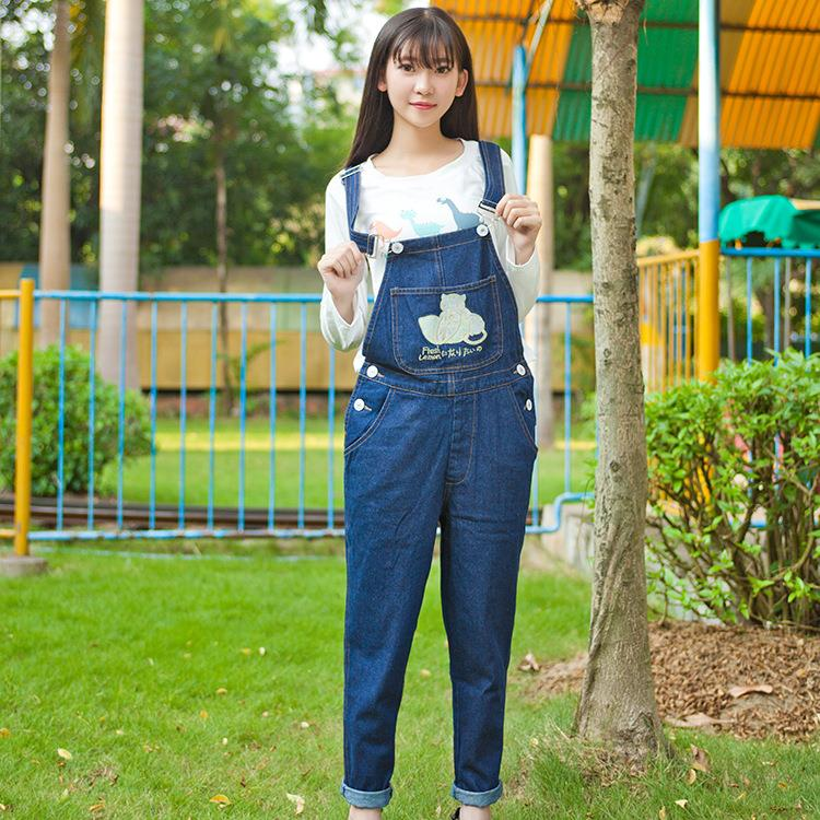 Vintage Embroidery Flesh Lemon cute cat strap jeans Denim bib pants spaghetti loose suspenders one piece trousers jumpsuits<br><br>Aliexpress