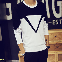 Free shipping Fashion mens t shirts 2015 autumn new spell color round neck long sleeve men shirt 3XL 4XL 5XL(China (Mainland))
