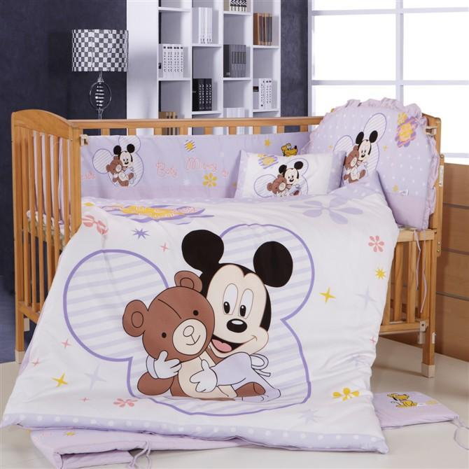 Promotion! 8pcs Mickey Mouse crib bedding kit baby bedding bed around kit berco bebe customize bed around set<br><br>Aliexpress