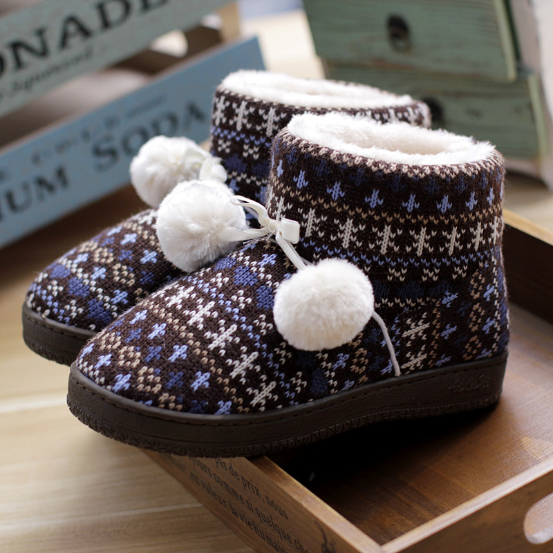 Winter New Couple High-top Cotton Shoes Men and Women Knitting Woolen Plush Warm Indoor Boots Heavy-bottomed Non-slip Home Shoes<br><br>Aliexpress
