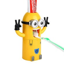 Environmental Minion Dispenser Bathroom Accessories Automatic Toothpaste Rack Plastic Bathroom Products With Brush Cup Holder(China (Mainland))