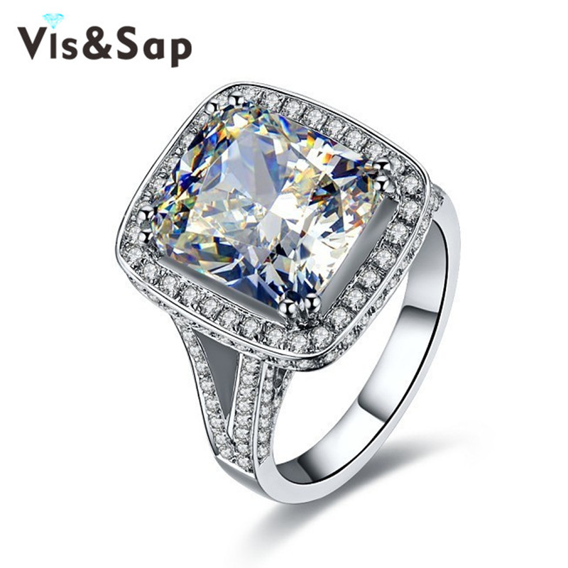 White plated rings anillos de compromiso 10ct AAA CZ diamond Rings For Women luxury Wedding engagement gifts micro pave VSRR001(China (Mainland))