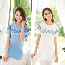 Maternity Linen Solid Color Plus Size T-shirt Maternity Blouse Women Clothing for Pregnant Summer White Blue Fashion Top A353(China (Mainland))