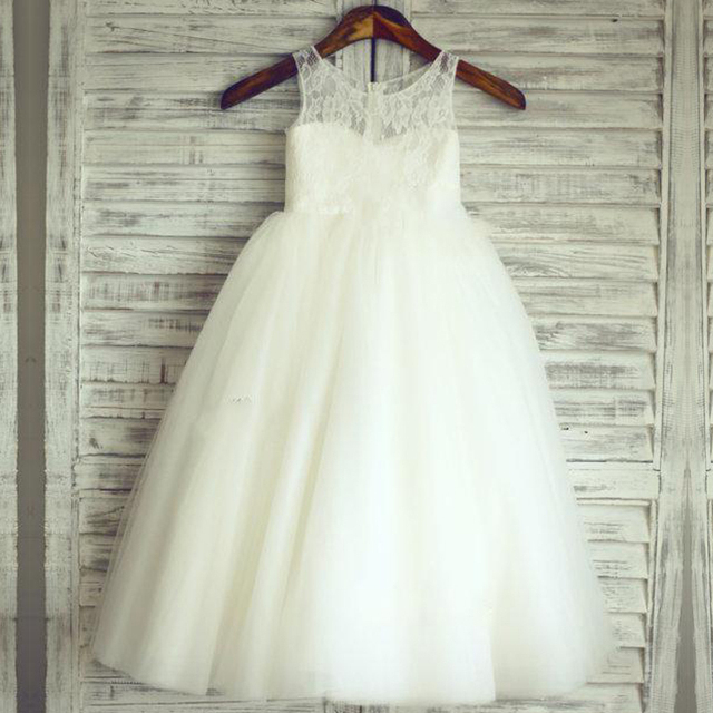 2015 новое поступление маленькая девочка бальное платье scoop-образным аппликация ...