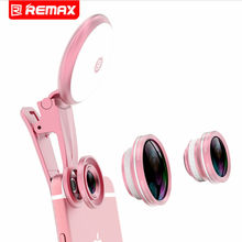 Buy Remax 4 1 Clip 180 Degree Fish Eye Fisheye Lens 150 Degree Wide Angle Lens 50 X Macro Lens Fill Light iPhone for $9.14 in AliExpress store