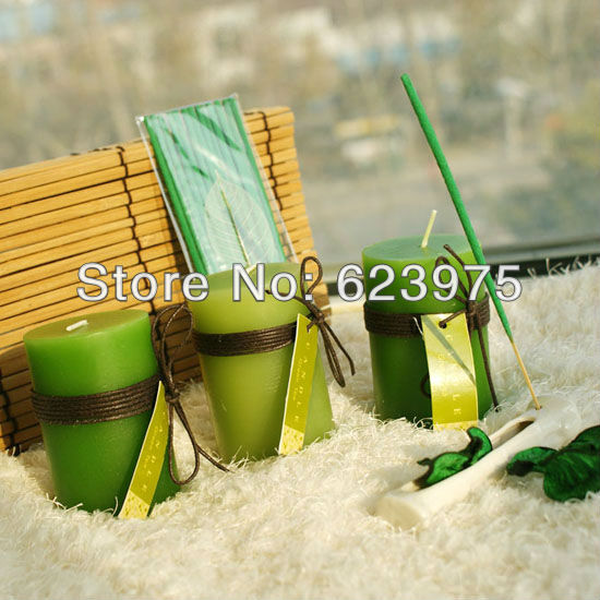 Natural bamboo Wrap Gift Candle Set with Ceramic Incense Holder and Sticks(China (Mainland))