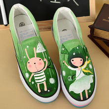 Personalized hand-painted shoes rabbit girl wrapping foot pedal platform canvas shoes platform shoes women's shoes(China (Mainland))