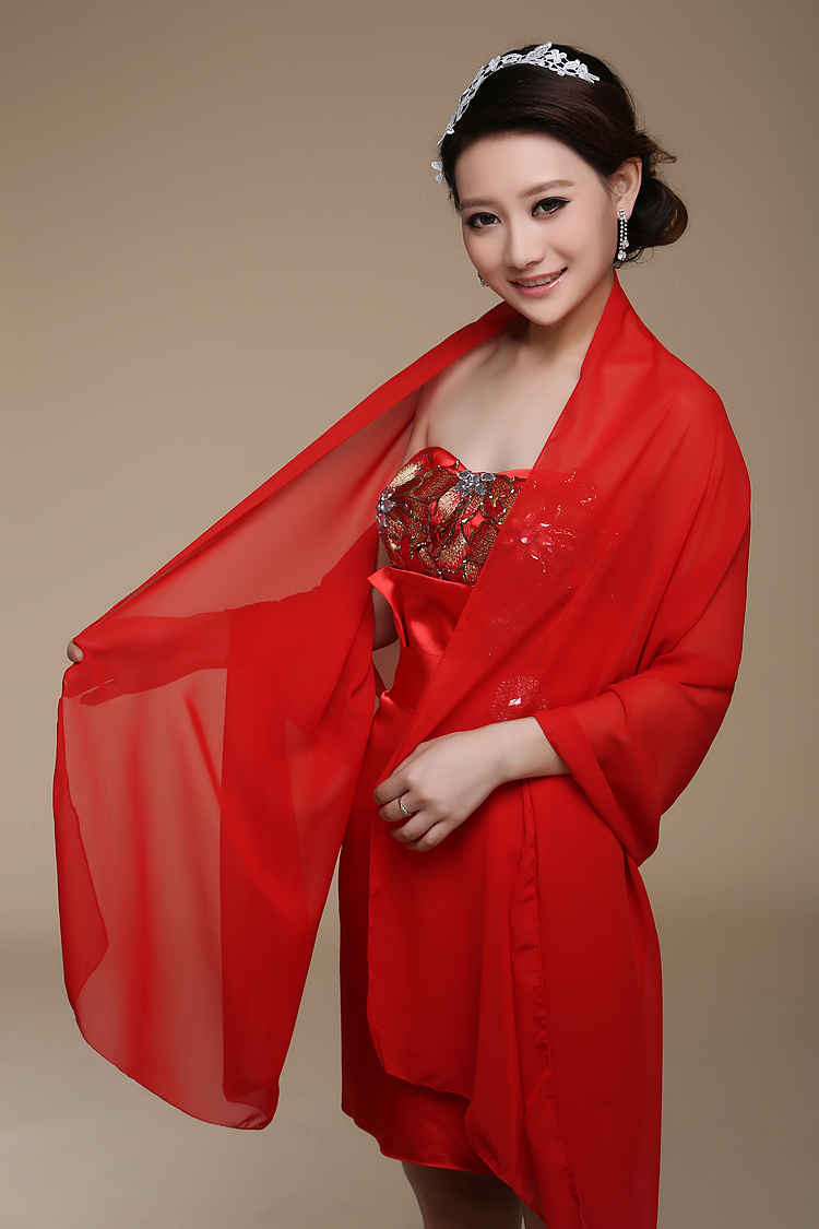White,Ivory,Red ,Green,Blue Chiffon Wedding Wrap/ Party/ Evening Shawl More Colors Available AL5403(China (Mainland))