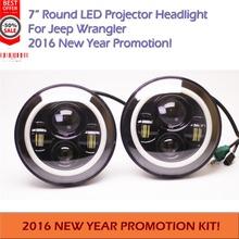1 Pair Angel Eyes 7 LED Headlight For Wrangler JK TJ LJ H4 Hi lo Beam
