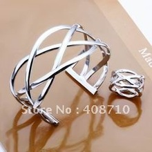 Factory price top quality 925 sterling silver cute jewelry sets necklace bracelet bangle earring ring free shipping SMTS311(China (Mainland))