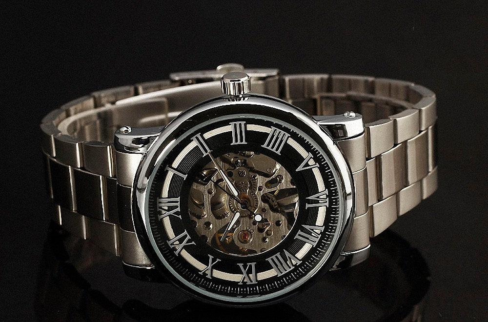 WINNER Formal Delicate Concise Men's Mechanical Wrist Watch Stainless-Steel Strap Roman Numbers W/ Box