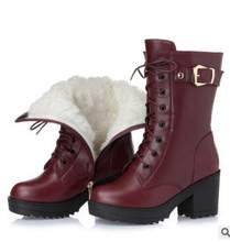 Hochhackigen echtem leder frauen winter stiefel dicke wolle warme frauen Martin stiefel hohe-qualität weiblichen schnee stiefel k25(China)