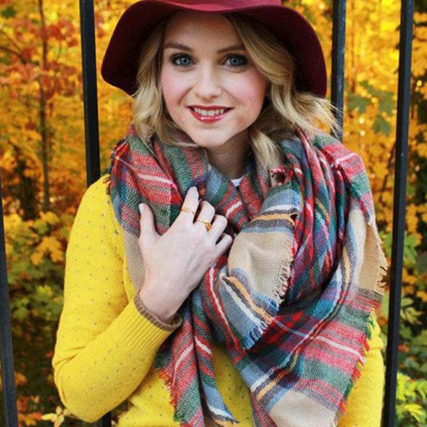Essential Scarf Wrap Shawl Plaid Cozy Checked Women Lady Blanket Oversized font b Tartan b font