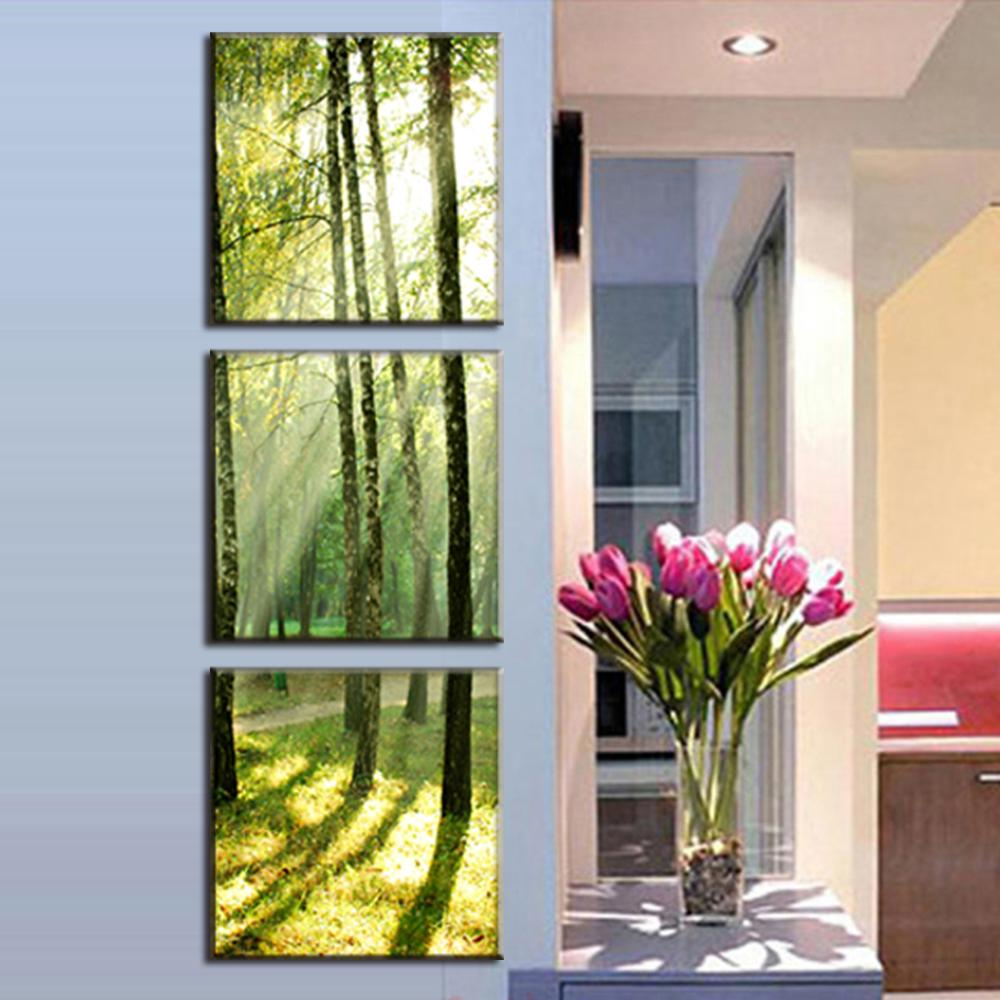 3 Pieces Modern Oil Painting On Canvas Sunshine on the trees paintings printed paint home painting decorative(China (Mainland))