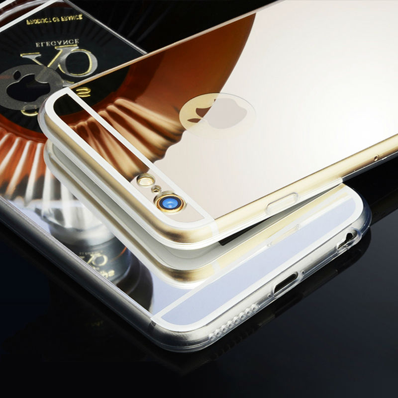 Luxury Mirror Case For iPhone 6 6s Plus Rose Gold Electroplating TPU Soft Case Cover For iPhone 6 6s With Screen Protector(China (Mainland))