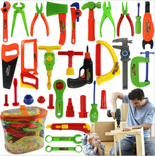 34pcs Baby educational toys Tool Kit children play house classic plastic toy kids tools hammer toolbox Simulation tool kit toys(China (Mainland))