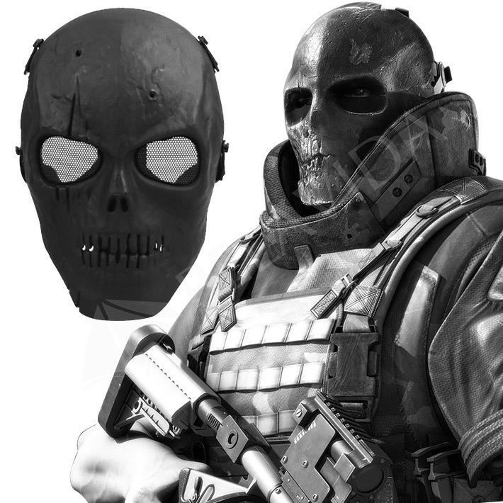 1Pc Skull Skeleton Airsoft Paintball BB Gun Full Face Protect Mask Shot Helmets Foam padded inside Black eye shield Full Cover(China (Mainland))