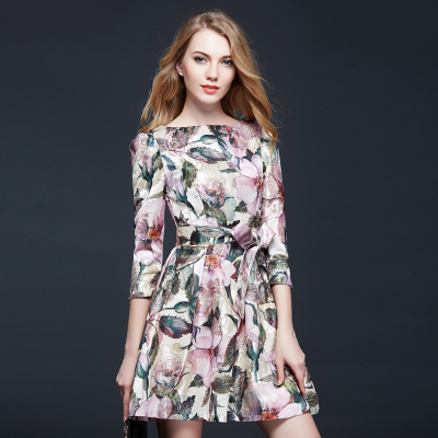 Factory Outlet New 2015 Fashion Women Luxury Jacquard Runway Dresses Autumn Winter Casual Ink Print O-neck Slim Dress Robe(China (Mainland))