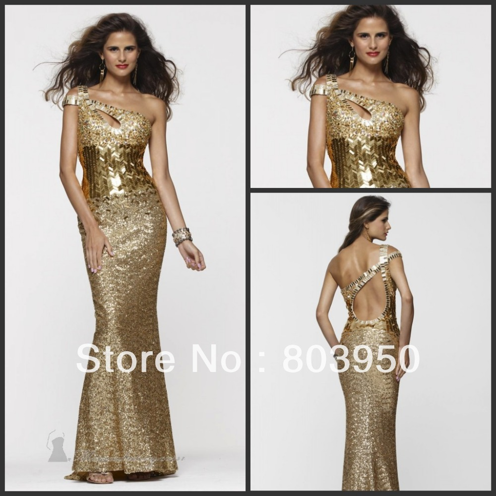Sexy Beaded Gold Sequins Dress Long See Through Prom Dresses 2013 Gold ...