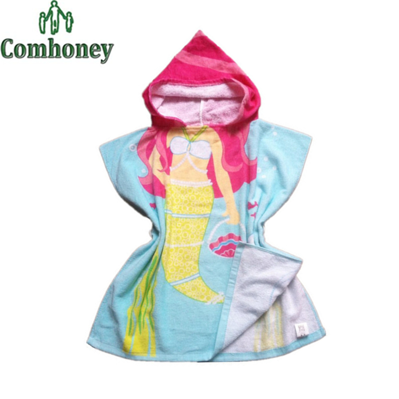 Mermaid Blanket Child Bathrobe for Kids Baby Poncho Hooded Towel Baby Girls Bath Robes Cute Boy Swim Beach Robe Children Blanket(China (Mainland))