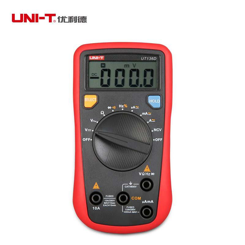 UNI-T UT136D Handheld Digital Multimeter Auto-ranging Mini Multi Tester with Diode <br><br>Aliexpress