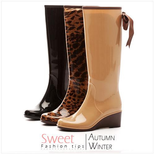 Гаджет  2014 New Fashion Rain Boots Waterproof Wedges High Barrel Women Rain Boots Women
