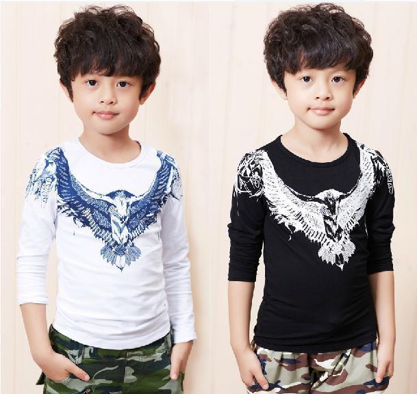 Retail 2014 new autumn baby boy t shirt black white cotton long sleeve eagle t shirt kids boys bottoming shirt children t shirts(China (Mainland))