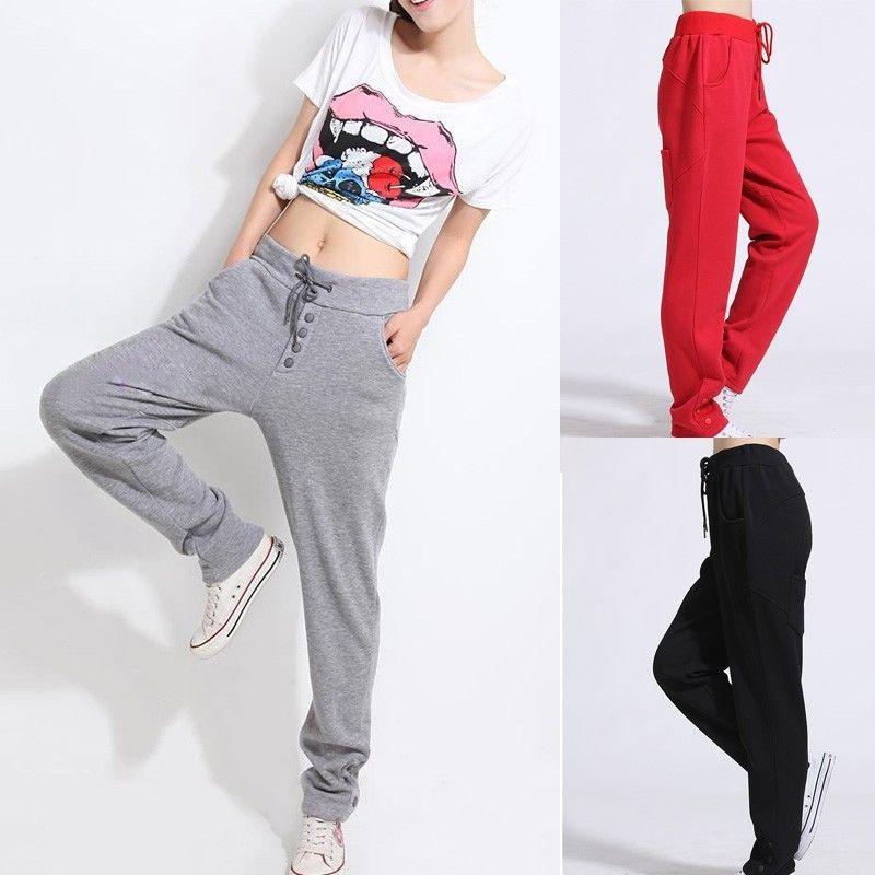 2015 Fashion Korean Style Casual Pants Drawstring Women Sport Pants Slim Fit Suit Harem Trousers