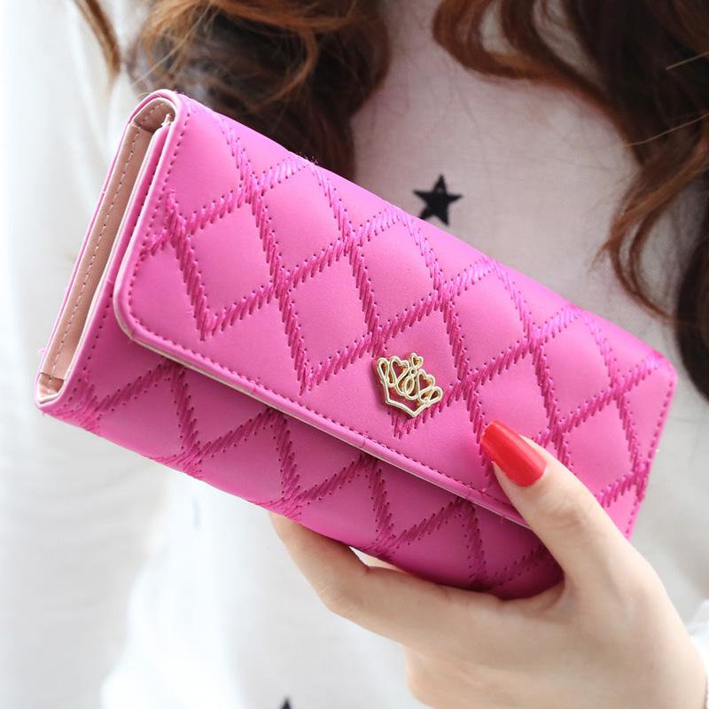 2015 new fashion women wallets Lingge metal crown lady long wallet  high quality clutch purse for women freeshipping<br><br>Aliexpress