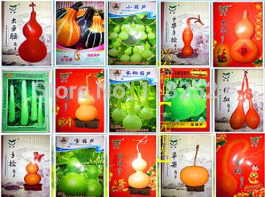Freeship 15 Packs (15 Kinds) U.S. gold inch hand twist - King wine gourd seeds(China (Mainland))