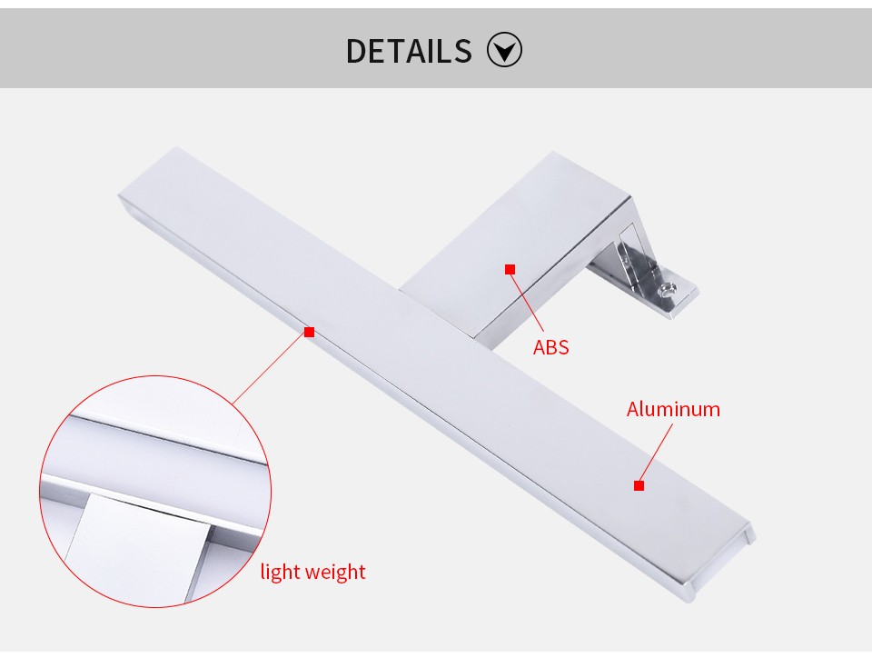 AC100-240V 30 40 50cm Silver LED Mirror Lamp for Cabinet Bathroom Vanity Light Aluminum Wall Mounted Lighting for Make up Mirror