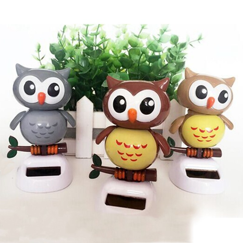 Solar Powered Owl Dancing Flip Flap Swinging Shook His Head For Car Decoration Lovely Dancing Owl Solar Powered Energy Toys(China (Mainland))