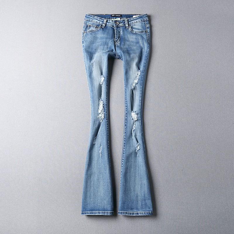 Скидки на Корея Последней Моде Женщины Весна Осень 2016 Бутлег джинсы Дамы Секси Стройная Отдыха Большой ярдов Светлый цвет Брюки G1386