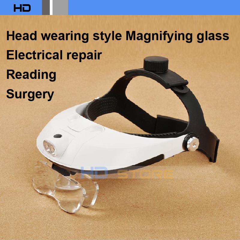 Head wearing type The old man reading Repair Operation Cross stitch HD With lamp Times Magnifier 5 groups of lenses<br><br>Aliexpress