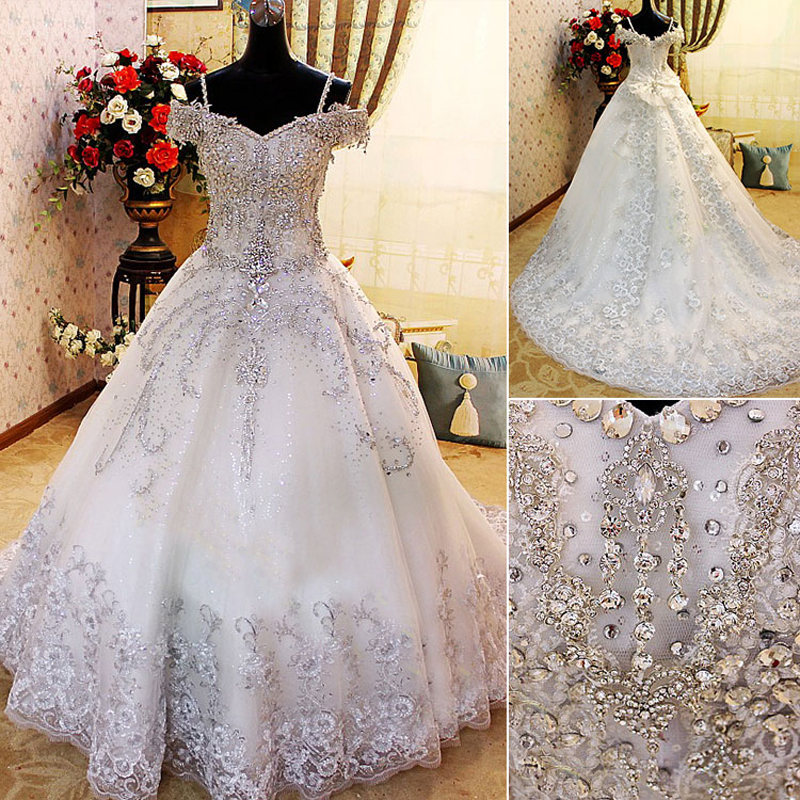 Turmec Ball Gown Wedding Dresses With Crystals