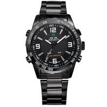 2018 nouvelles montres hommes marque de luxe Weide plein acier Quartz horloge Led numérique militaire montre Sport montre-bracelet Relogio Masculino(China)