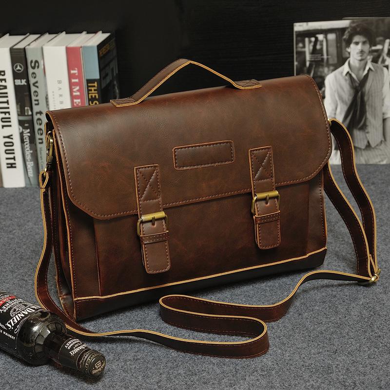 Men/'s Office Vintage Leather Messenger Laptop Briefcase Satchel Man/'s Bag Brown