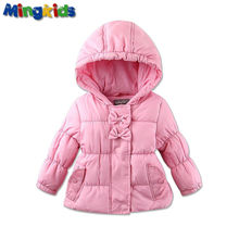 Mingkids Outdoor puffy pink jacket coat for babies with a warm spring autumn