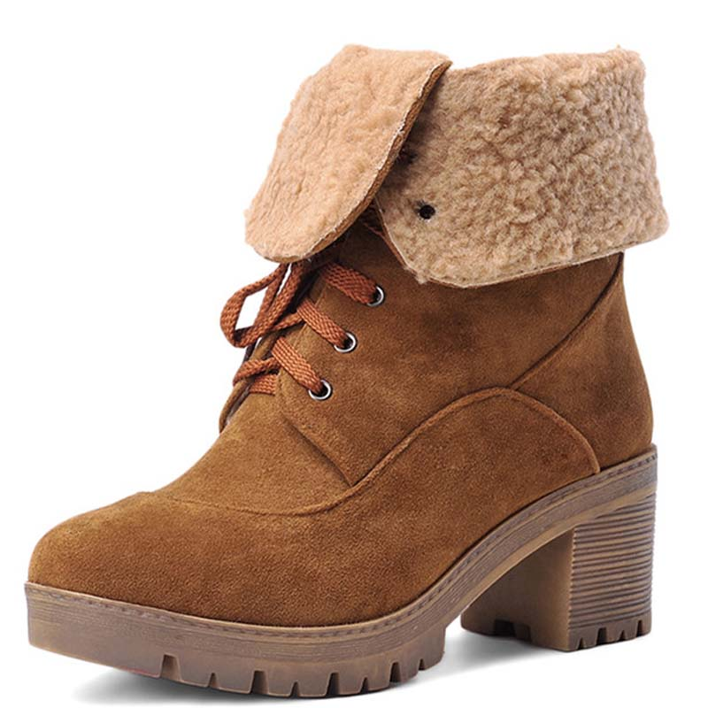 Size 34-43 New Autumn Boots Round Toe Thick High Heels Ankle Boots Lace Up Platform Boots Black Women Shoes Snow Boots