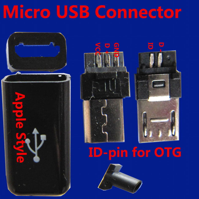 Micro USB Connector/Apple style/5pins plug/5pins ConnectorsFor Mobilephone Cable Handsets GPS 5P(China (Mainland))
