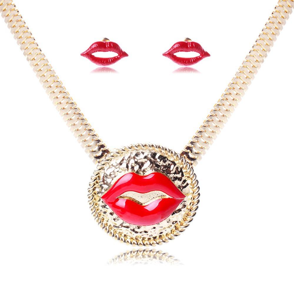 2015 NEW Fashion punk red lips necklace gold female short design jewelry accessories royal rhinestone full women(China (Mainland))