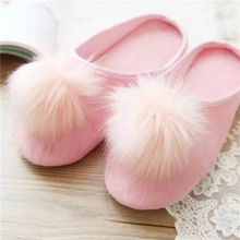 New autumn and winter, fluffy pink plush ball home indoor slippers, warm slippers slippery floors, slippers women,free shipping!